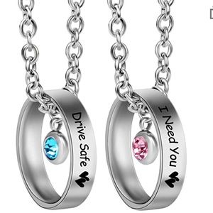 Jewelry - Drive Safe & I Need You Couple Rings Necklace Set
